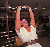 Feb 22, 1996 - Whittier, California, USA - Tony Mandarich works out in a gym in Whittier, Calif. in 1989 before he was picked in the NFL draft by the Packers. Mandarich, out of football for four years, signed Thursday  Feb. 22, 1996 as a free agent with the Indianapolis Colts.  The second overall pick in the 1989 draft by Green Bay, Mandarich last played in 1991, when he started the first 15 games at right tackle before tearing a ligament in his left ankle..(Credit Image: © Alan Greth)