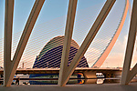 L'Agora event space and the Assut de l'Or Bridge at sunset; City of Arts and Sciences complex built in the former riverbed of Turia river; designed by Sanitago Calatrava