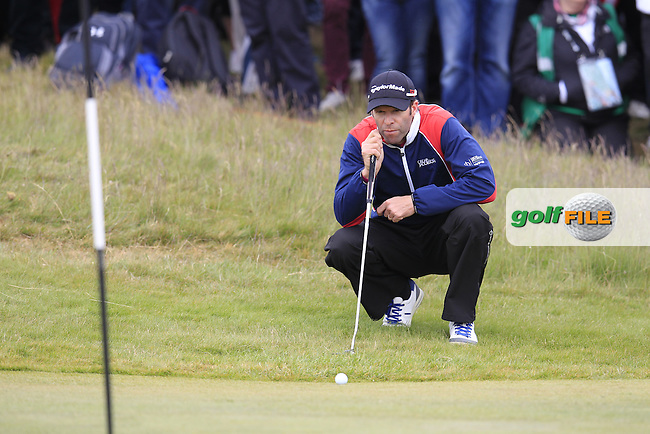 Bradley DREDGE (WAL) at the 18th green during Saturday's Round 3 of the 2015 Dubai Duty Free Irish Open, Royal County Down Golf Club, Newcastle Co Down, Northern Ireland 5/30/2015<br /> Picture Eoin Clarke, www.golffile.ie