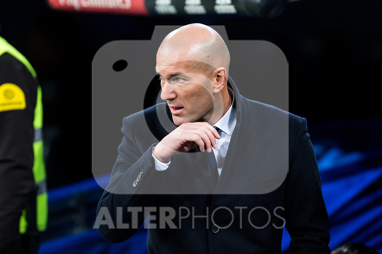 Zinedine Zidane coach  of Real Madrid during the match of Spanish La Liga between Real Madrid and Real Betis at  Santiago Bernabeu Stadium in Madrid, Spain. March 12, 2017. (ALTERPHOTOS / Rodrigo Jimenez)