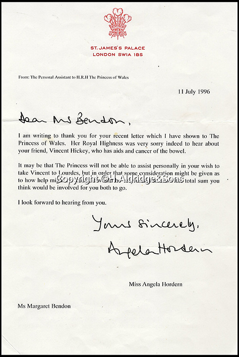 BNPS.co.uk (01202 558833)Pic: H.Aldridge&Sons/BNPS<br /> <br /> The initial letter sent from Princess Diana to a firiend of an aids victim, Vincent Hickey.<br /> <br /> Touching letters sent by Princess Diana to an aids victim who she paid £580 to so he could visit Lourdes have come to light.<br /> <br /> The exchange of correspondence between Diana and a friend of Vincent Hickey show the warmth and generosity the so-called 'People's Princess' showed to people less fortunate than her.<br /> <br /> In July 1996, just a year before her death in a car crash in Paris, Margaret Bendon wrote to Diana seeking help on behalf of Mr Hickey, who had aids and bowel cancer.<br /> <br /> Her personal assistant wrote back saying the Princess was considering the request before a second letter six days later was sent with an enclosed  cheque.