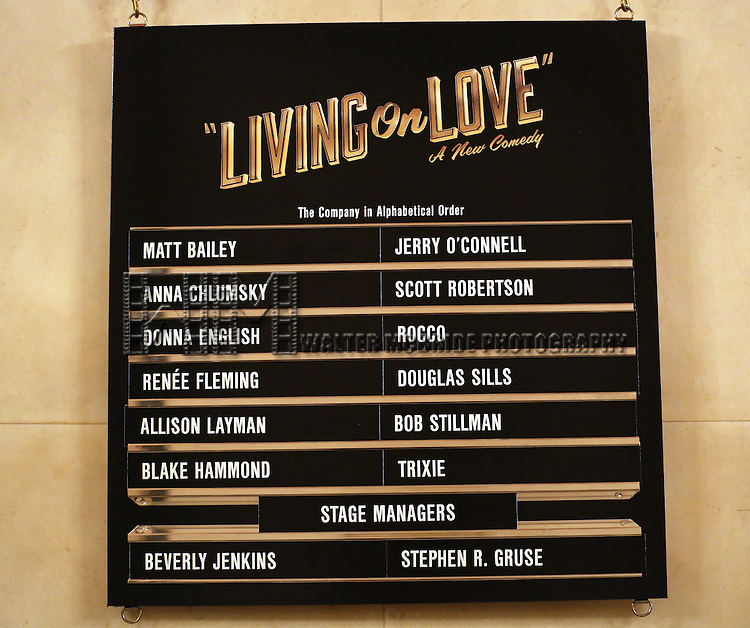 Lobby cast board for the Broadway Opening Night Performance of 'Living on Love' at The Longacre Theatre on April 20, 2015 in New York City.