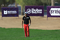 Victor Dubuisson (FRA) on the 2nd during Round 4 of the Omega Dubai Desert Classic, Emirates Golf Club, Dubai,  United Arab Emirates. 27/01/2019<br /> Picture: Golffile | Thos Caffrey<br /> <br /> <br /> All photo usage must carry mandatory copyright credit (&copy; Golffile | Thos Caffrey)