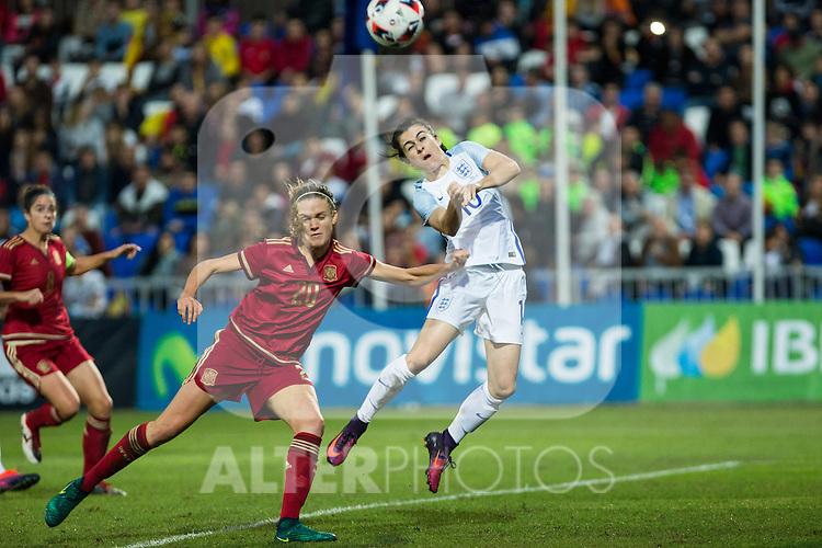 Spain's Irene Paredes England's Karen Carney during the frendly match between woman teams of  Spain and England at Fernando Escartin Stadium in Guadalajara, Spain. October 25, 2016. (ALTERPHOTOS/Rodrigo Jimenez)
