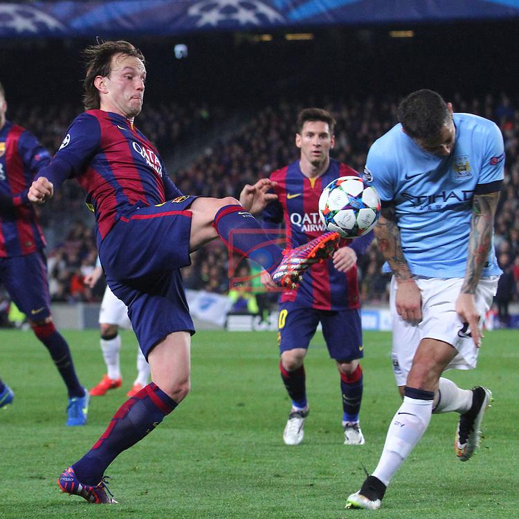 UEFA Champions League 2014/2015. <br /> Round of 16, Second leg.<br /> FC Barcelona vs Manchester City: 1-0.<br /> Ivan Rakitic vs Aleksandar Kolarov.