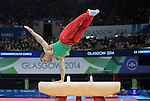 Wales Clinton Purnell in action during todays final <br /> <br /> Photographer Ian Cook/Sportingwales<br /> <br /> 20th Commonwealth Games -Gymnastics -  Day 7 - Wednesday 30th July 2014 - Glasgow - UK