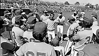 Oakland Athletics manager Billy Martin talking to the team before spring training in Arizona 1980.<br />