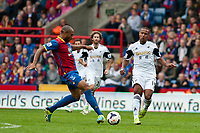 Sun 22 September 2013<br /> <br /> Pictured: Danny Gabbidon of Crystal Palace and Wayne Routledge of Swansea go for the ball <br /> Re: Barclays Premier League Crystal Palace FC  v Swansea City FC  at Selhurst Park, London