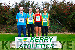 Top positions in the Kerry County Athletics Championships held in Cahersiveen on Sunday pictured here l-r; David Kissane(St Brendans Over 65's), Sharon Cahill(An Riocht Intermediate), Alyce O'Connor(Kenmare U19's) & Niamh O'Sullivan(An Riocht Masters).