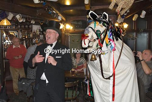 Mari Lwyd Llangynwyd near Bridgend Glamorgan bringing in the New Year December 31st 2012. Gwyn Evans Ostler in top hat and formal clothes, at the Old House Inn, Llangynwyd.