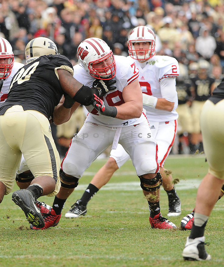 Wisconsin Badgers Ryan Groy (79) in action during a game against Purdue on October 13, 2012 at Ross-Ade Stadium in West Lafayette, IN. Wisconsin beat Purdue 38-14.