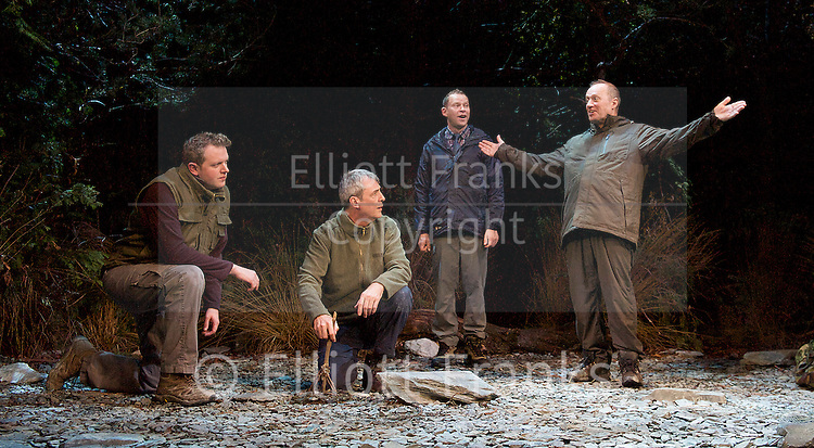 Neville's Island <br /> by Tim Firth <br /> at Duke of York's Theatre, London, Great Britain <br /> 17th October 2014 <br /> press photocall<br /> <br /> <br /> Miles Jupp as Angus<br /> <br /> Neil Morrissey as Neville<br /> <br /> Robert Webb as Roy <br /> <br /> <br /> Adrian Edmondson as Gordon <br /> <br /> <br /> <br /> <br /> Photograph by Elliott Franks <br /> Image licensed to Elliott Franks Photography Services