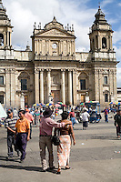 Sunday 12 November 2006<br /> Daily Life scenes from the Parque Central main Square in Guatemala City. The church is the main Catholic Cathedral in the City and Country.