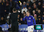 Jamie Vardy of Leicester City receives a yellow card during the Carabao Cup match at the King Power Stadium, Leicester. Picture date: 8th January 2020. Picture credit should read: Darren Staples/Sportimage