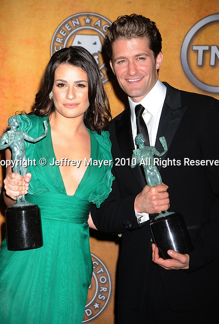 LOS ANGELES, CA. - January 23: Lea Michele and Matthew Morrison pose in the press room at the 16th Annual Screen Actors Guild Awards held at The Shrine Auditorium on January 23, 2010 in Los Angeles, California.
