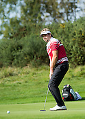 17.10.2014. The London Golf Club, Ash, England. The Volvo World Match Play Golf Championship.  Day 3 group stage matches.  Victor Dubuisson (FRA)  comes close on the fourth hole.