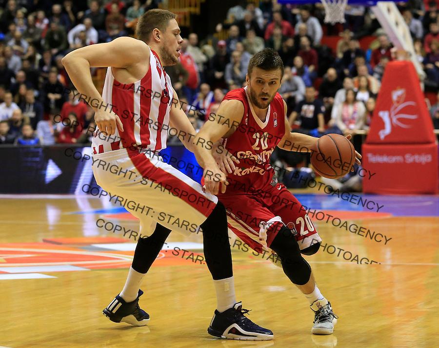 Kosarka ABA League season 2015-2016<br /> Crvena Zvezda v Cedevita<br /> Nemanja Gordic (R) and Vladimir Stimac<br /> Beograd, 04.01.2015.<br /> foto: Srdjan Stevanovic/Starsportphoto&copy;