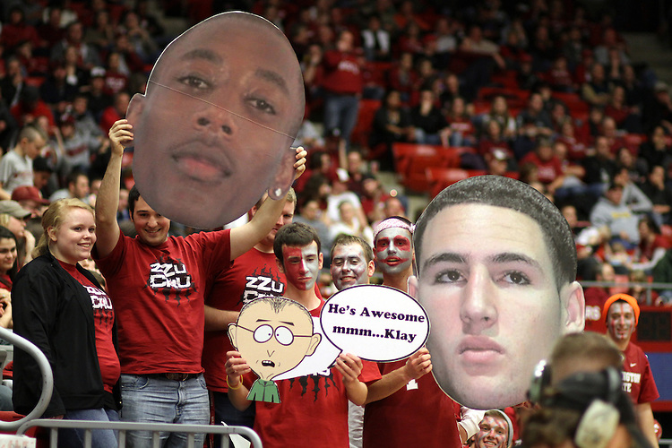 "Members of the ZZU CRU show off ""big heads"" of Marcus Capers and Klay Thompson during the Cougars Pac-10 conference game with the Wildcats at Friel Court at Beasley Coliseum in Pullman, Washington, on January 22, 2011."