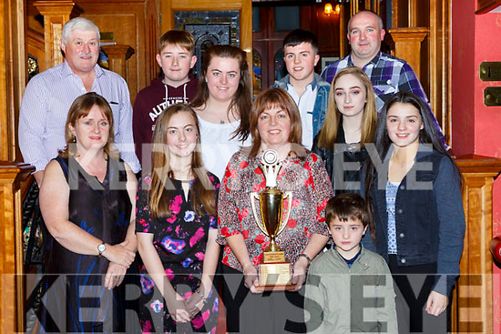 The Keel/Kiltallagh team that won th e Owen white award for most Improved area at the Kerry Community games awards in the River Island Hotel on Friday night  front row l-r: Margaret Reilly, Natasha Myers, Eileen Myers, Daniel Linehan and Liath Linehan Back row: Michael O'Shea, Jake O'Reilly, Sandra Myers, Cian Linehan, Zara O'Reilly and Jason Linehan.