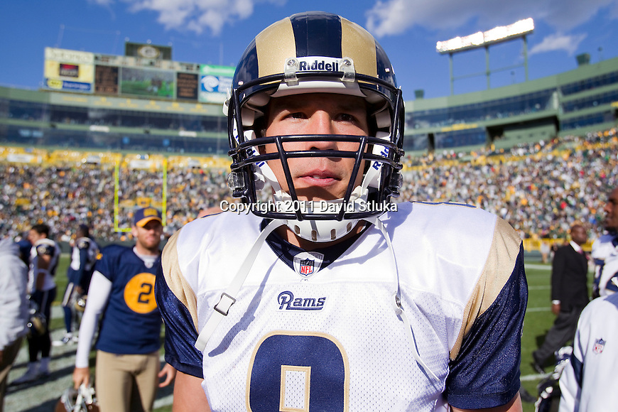 St. Louis Rams quarterback Sam Bradford (8) walks off the field after a Week 6 NFL football game against the Green Bay Packers on October 16, 2011 in Green Bay, Wisconsin. The Packers won 24-3. (AP Photo/David Stluka)