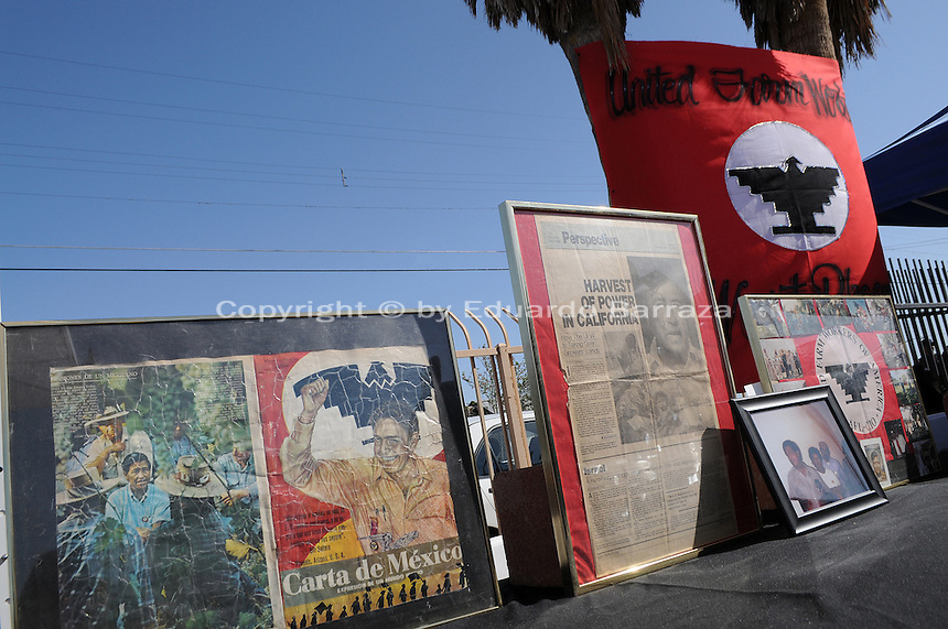 Phoenix, Arizona. March 27, 2010 - The Santa Rita Hall or Santa Rita Center is a small brick building located in south Phoenix where Mexican-American farm workers organizer and hero Cesar Estrada Chavez held a historic fast in 1972. The fast was in response to House Bill 2134, a bill that if passed into law would prohibit farm workers the right to boycott and strike during harvest seasons. Arizona's governor Jack Williams proceeded to sign the bill into law. As a form of peaceful protest against HB 2134, the farm workers organizer began a water-only fast at Santa Rita Hall. The fast would last 24 days. The Santa Rita Hall, now called Santa Rita Center, is located on the Barrio Campito, in southeast Phoenix, on 1017 East Hadley Street. Today, the Santa Rita Center is partly abandoned and in need of repair and restoration. Photo by Eduardo Barraza © 2010