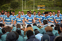 The Silverstream team performs a haka after winning the Weltec Premiership Wellington secondary schools 1st XV rugby final between St Patrick's College Silverstream and Wellington College at Porirua Park in Wellington, New Zealand on Sunday, 20 August 2017. Photo: Dave Lintott / lintottphoto.co.nz