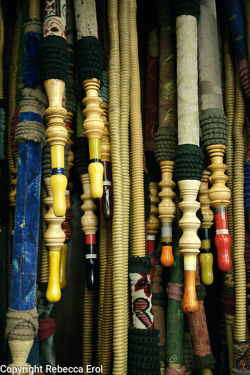 Nargile pipes hanging at a cafe, Istanbul, Turkey