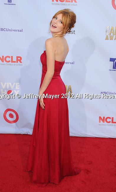 PASADENA, CA - SEPTEMBER 16: Bella Thorne arrives at the 2012 NCLR ALMA Awards at Pasadena Civic Auditorium on September 16, 2012 in Pasadena, California.