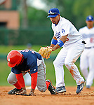 12 March 2008: Los Angeles Dodgers' infielder Rafael Furcal catches Willie Harris in a rundown during a Spring Training game against the Washington Nationals at Holman Stadium, in Vero Beach, Florida. The Nationals defeated the Dodgers 10-4 at the historic Dodgertown ballpark. 2008 marks the final season of Spring Training at Dodgertown for the Dodgers, as the team will move to new training facilities in Arizona starting in 2009 after 60 years in Florida...Mandatory Photo Credit: Ed Wolfstein Photo