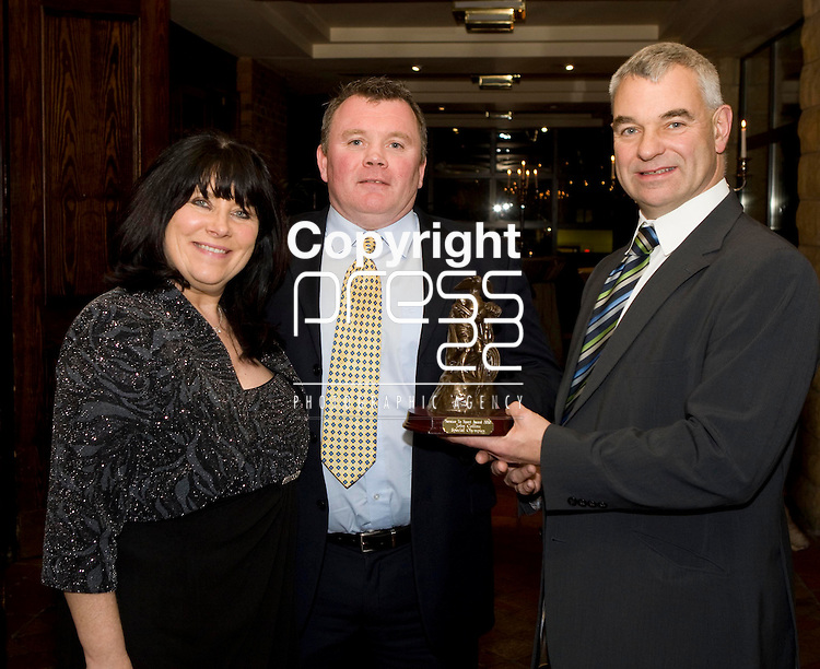 28/1/2011.<br /> Attending the dinner to honour Limerick people who were honoured with a Limerick Service to Sports Award were Breda Deedigan, Limerick Sports Service, Ger Tierney, recipient Bruff and Dave Mahedy, UL Director of Sport who presented the awards.<br /> Picture: Liam Burke/Press 22