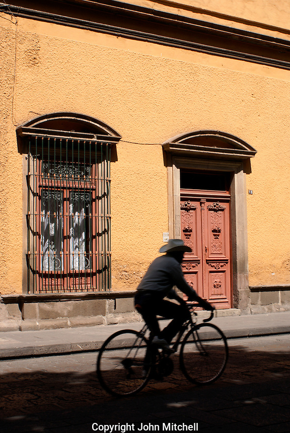 Man riding a bicycle in the city of San Luis de Potosi, Mexico