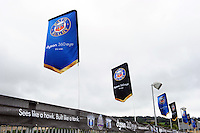 A general view of Bath Rugby branded flags along the East Stand. Aviva Premiership match, between Bath Rugby and Newcastle Falcons on September 10, 2016 at the Recreation Ground in Bath, England. Photo by: Patrick Khachfe / Onside Images