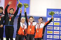 SPEEDSKATING: CALGARY: 14-11-2015, Olympic Oval, ISU World Cup, Podium Ladies Team Sprint, Marsha Hudey, Noemi Fiset, Heather McLean, Team CAN, ©foto Martin de Jong
