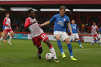 Emmanuel Sonupe of Stevenage and Frankie Kent of Peterborough United during Stevenage vs Peterborough United, Emirates FA Cup Football at the Lamex Stadium on 9th November 2019