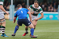Joe Munro of Ealing Trailfinders in possession during the British & Irish Cup Final match between Ealing Trailfinders and Leinster Rugby at Castle Bar, West Ealing, England  on 12 May 2018. Photo by David Horn / PRiME Media Images.