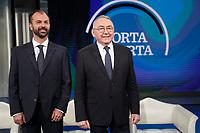 Lorenzo Fioramonti e Emilio Carelli<br /> Roma 23/01/2018. Trasmissione tv Rai 'Porta a Porta'.<br /> Rome January 23rd 2018. Talk show 'Porta a Porta' in Rome<br /> Foto Samantha Zucchi Insidefoto