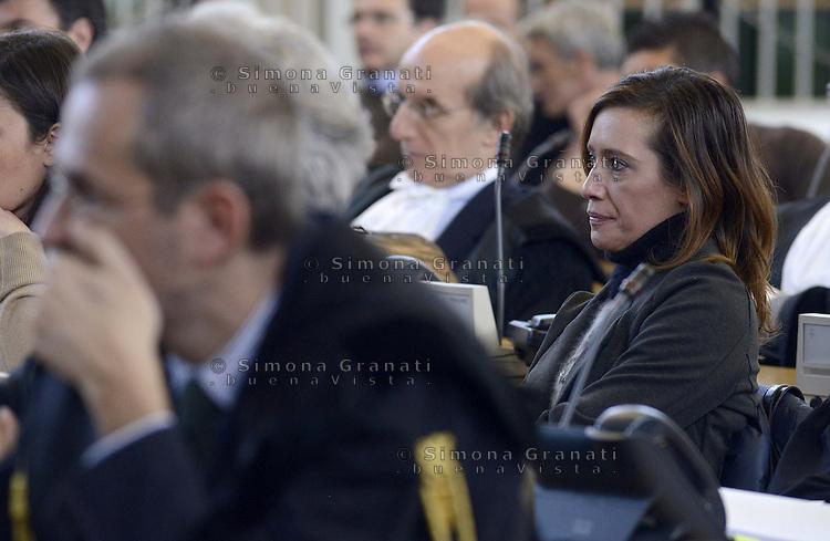 Roma, 19 Dicembre 2012.Aule bunker di Rebibbia.Ilaria Cucchi,  la sorella di Stefano Cucchi in aula durante le deposizioni dei periti