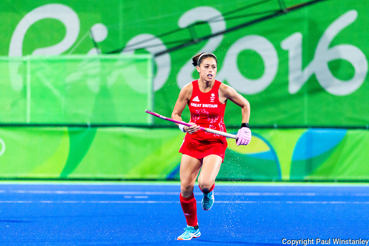 Sam Quek #13 of Great Britain during India vs Great Britain in a Pool B game at the Rio 2016 Olympics at the Olympic Hockey Centre in Rio de Janeiro, Brazil.