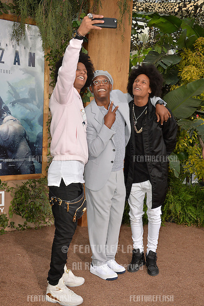 LOS ANGELES, CA. June 27, 2016: Actor Samuel L. Jackson with dancers/models Les Twins - Laurent Bourgeois &amp; Larry Bourgeois - at the world premiere of &quot;The Legend of Tarzan&quot; at the Dolby Theatre, Hollywood.<br /> Picture: Paul Smith / Featureflash