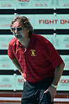 LOS ANGELES, CA - MAY 13: Head coach Jovan Vavic of the University of Southern California calls to his players during the Division I Women's Water Polo Championship held at the Uytengsu Aquatics Center on the USC campus on May 13, 2018 in Los Angeles, California. USC defeated Stanford 5-4. (Photo by Tim Nwachukwu/NCAA Photos via Getty Images)