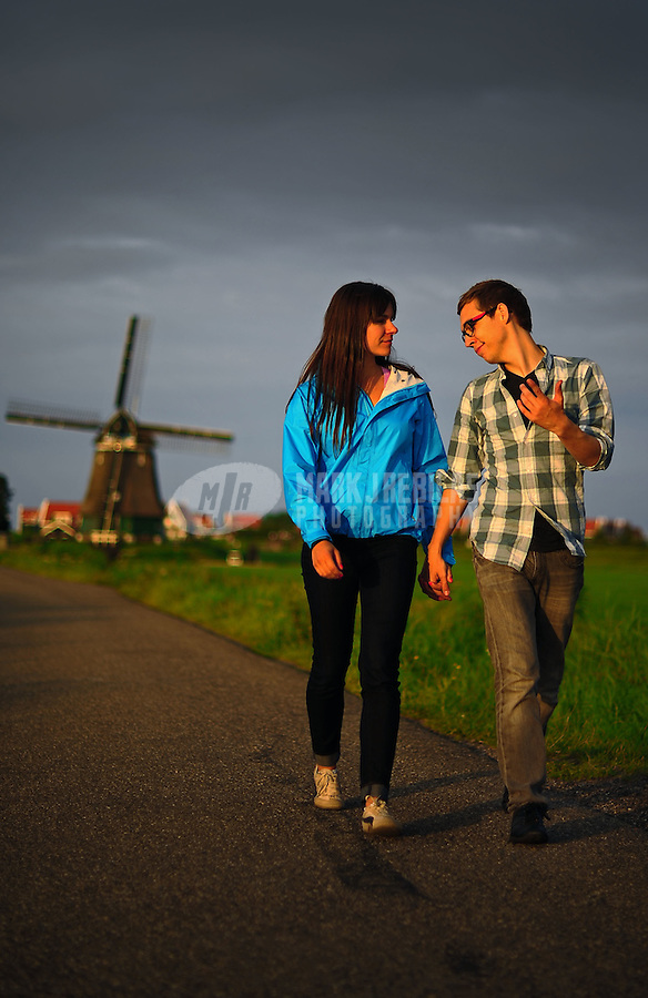 Amsterdam Netherlands Holland windmill country countryside couple love holding hands romantic Dustin Snipes Rachel Europe