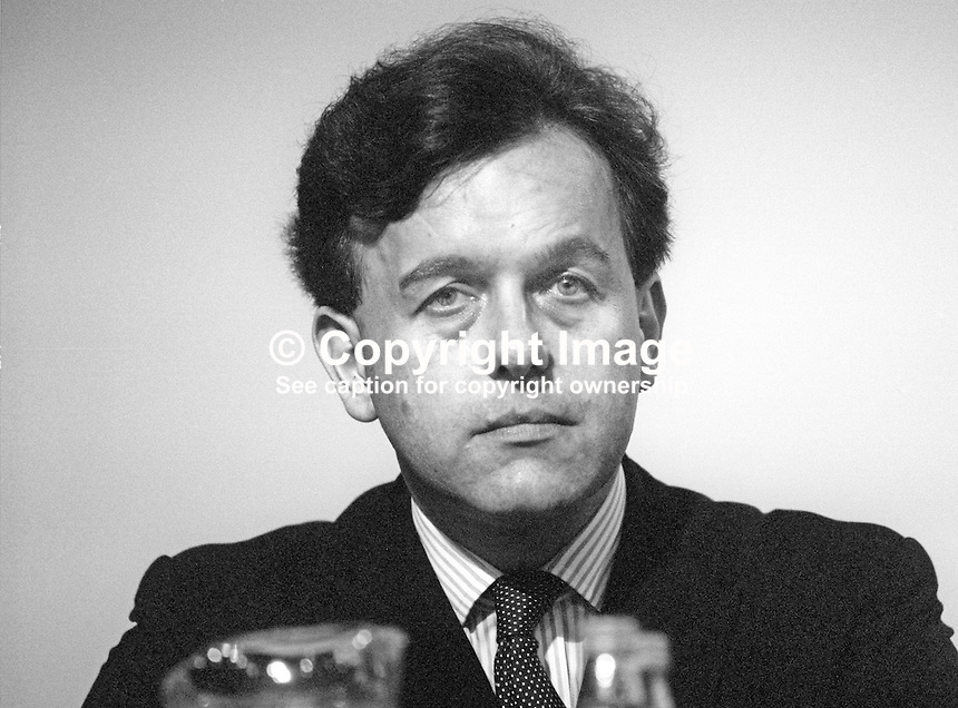 John Patton, MP, Conservative Party, housing minister, UK, October, 1986, 19861009JP2<br /> <br /> Copyright Image from Victor Patterson, 54 Dorchester Park, Belfast, UK, BT9 6RJ<br /> <br /> t1: +44 28 9066 1296 (from Rep of Ireland 048 9066 1296)<br /> t2: +44 28 9002 2446 (from Rep of Ireland 048 9002 2446)<br /> m: +44 7802 353836<br /> <br /> e1: victorpatterson@me.com<br /> e2: victorpatterson@gmail.com<br /> <br /> The use of my copyright images is subject to my Terms &amp; Conditions.<br /> <br /> It is IMPORTANT that you familiarise yourself with them. They are available on my website at www.victorpatterson.com.<br /> <br /> None of my copyright images may be used on a website unless they are visibly watermarked, i.e. &copy; Victor Patterson within the body of the visible image. Metadata denoting my copyright must NOT be deleted. <br /> <br /> Web use (maximum size - 400 kb) is extra at currently recommended NUJ rates.