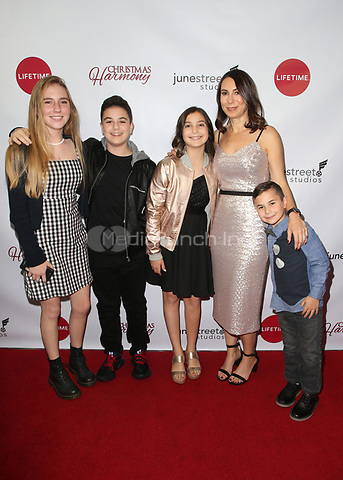 "LOS ANGELES, CA - NOVEMBER 7: Claudia Schwarz, Grayson Schwarz, Aden Schwarz, Noey Schwarz and Jude Schwarz, at Premiere of Lifetime's ""Christmas Harmony"" at Harmony Gold Theatre in Los Angeles, California on November 7, 2018. Credit: Faye Sadou/MediaPunch"
