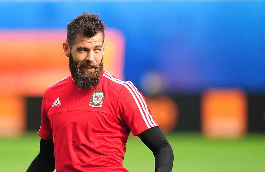 Wales's Joe Ledley during todays training session<br /> <br /> Photographer Kevin Barnes/CameraSport<br /> <br /> International Football - 2016 UEFA European Championship - Training Session - Group B - England v Wales - Wednesday, 15th June 2016 - Stade Bollaert-Delelis, Lens Agglo, France<br /> <br /> World Copyright &copy; 2016 CameraSport. All rights reserved. 43 Linden Ave. Countesthorpe. Leicester. England. LE8 5PG - Tel: +44 (0) 116 277 4147 - admin@camerasport.com - www.camerasport.com