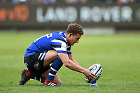 Alex Davies of Bath Rugby lines the ball up for a kick at the posts. Gallagher Premiership match, between Bath Rugby and Wasps on May 5, 2019 at the Recreation Ground in Bath, England. Photo by: Patrick Khachfe / Onside Images