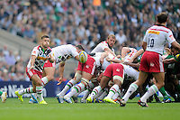 Danny Care of Harlequins passes during the Premiership Rugby Round 1 match between London Irish and Harlequins at Twickenham Stadium on Saturday 6th September 2014 (Photo by Rob Munro)