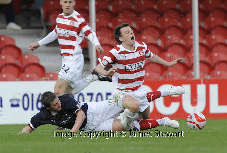 13/05/2009  Copyright  Pic : James Stewart.sct_jspa02_hamilton_v_falkirk.THOMAS SCOBBIE CHALLENEGS PAUL MCGOWAN.James Stewart Photography 19 Carronlea Drive, Falkirk. FK2 8DN      Vat Reg No. 607 6932 25.Telephone      : +44 (0)1324 570291 .Mobile              : +44 (0)7721 416997.E-mail  :  jim@jspa.co.uk.If you require further information then contact Jim Stewart on any of the numbers above.........