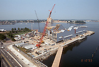 1993 August 12..Redevelopment.Downtown West (A-1-6)..NAUTICUS.CONSTRUCTION PROGRESS.LOOKING SOUTHWEST FROM TOWN POINT CENTER ROOF...NEG#.NRHA#..