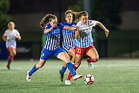 Boston, MA - Friday July 07, 2017: Allysha Chapman and Sofia Huerta during a regular season National Women's Soccer League (NWSL) match between the Boston Breakers and the Chicago Red Stars at Jordan Field.