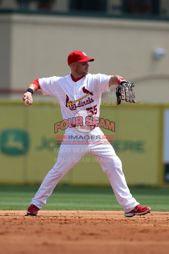 March 20, 2010:  Second Baseman Skip Schumaker (55) of the St. Louis Cardinals during a Spring Training game at the Roger Dean Stadium Complex in Jupiter, FL.  Photo By Mike Janes/Four Seam Images